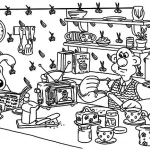 Wallace And Gromit In The Kitchen Coloring Pages