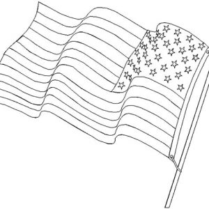 Waving Flag Blowing In The Wind On Flag Day Coloring Pages