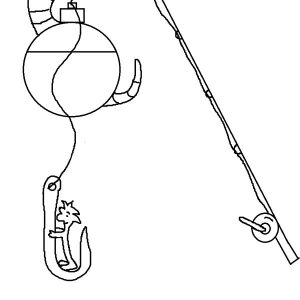 Worm Hanging On Fishing Pole Coloring Pages