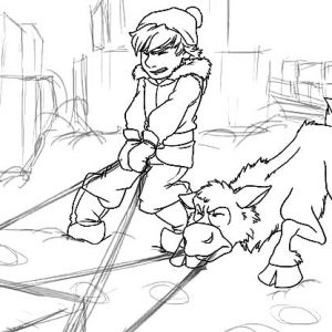 Young Kristoff And Sven Pulling Sled Full Of Ice Block Coloring Pages