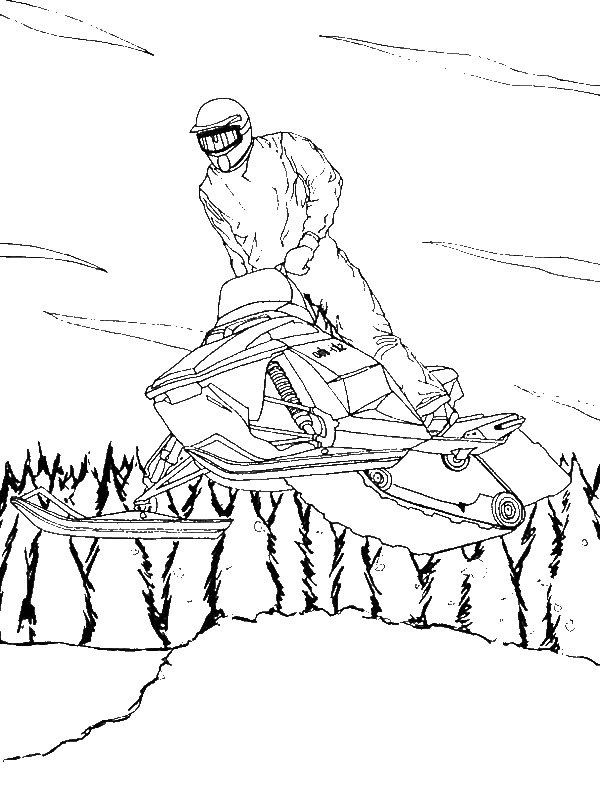 snowmobile coloring pages A Cool Winter Snowmobile On Action Coloring Page   Download  snowmobile coloring pages