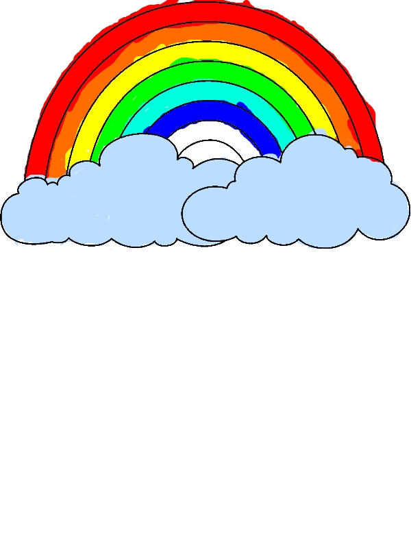 A Simple Drawing Of Rainbow Behind The Cloud Coloring Page