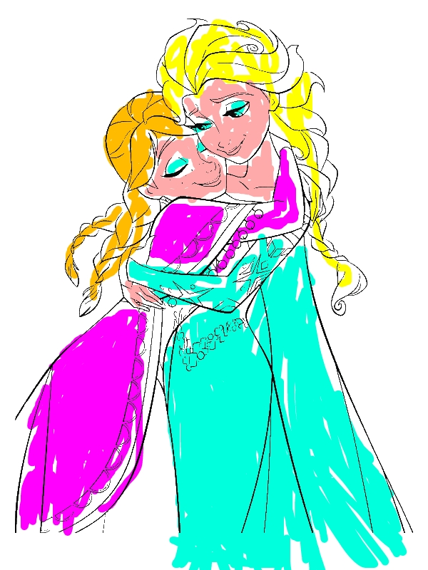 Anna Hugging Elsa the Snow Queen Coloring Page - Download & Print ...