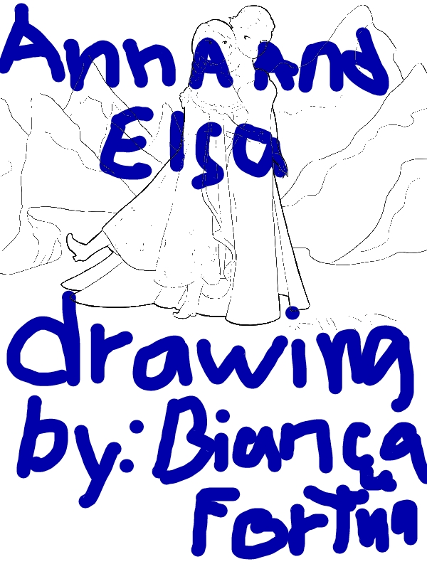 Anna And Elsa Standing Side By Side Coloring Page By 8 Years Old Bianca