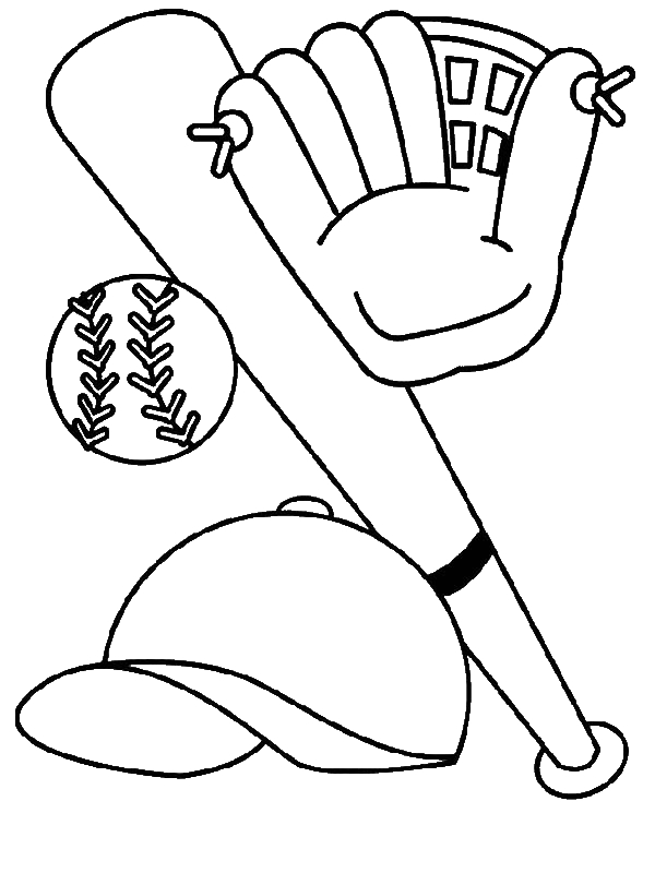 Mlb coloring pages baseball glove ~ Bat, Glove, Hat And Baseball Coloring Page - Download ...