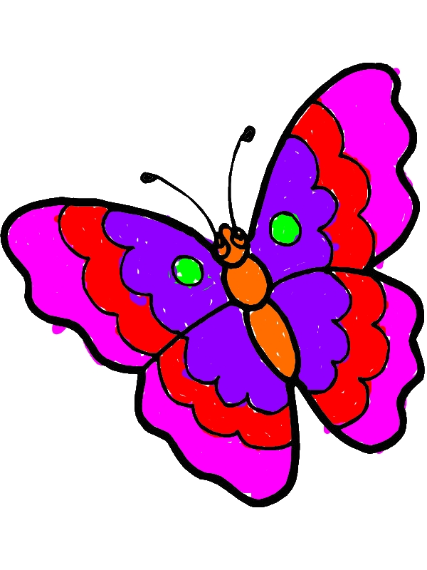 Cartoon Butterfly In Sad Eyes Coloring Page Download