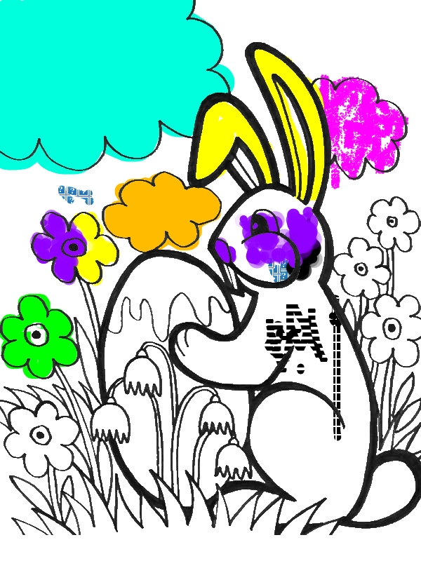 Little Bunny Holding An Easter Egg Coloring Page ...