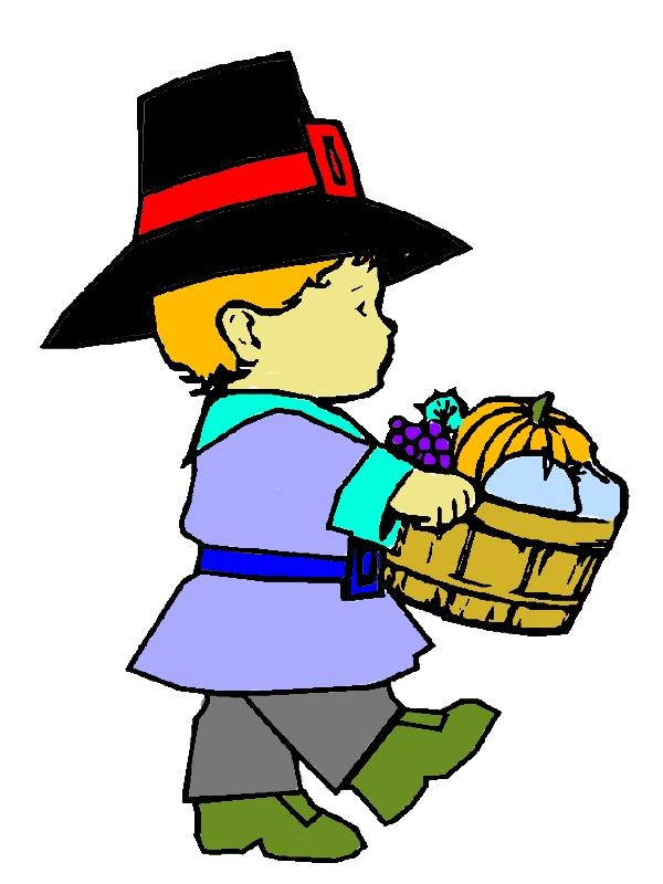 Little Pilgrim Boy Holding Fruit Barrel On Thanksgiving Day