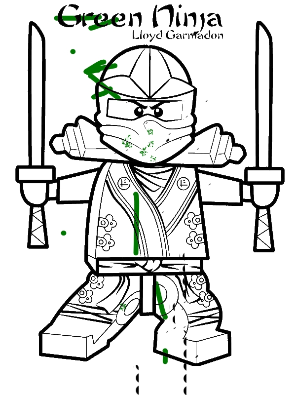 Lloyd Garmadon Ninjago Green Ninja Coloring Page Download Print