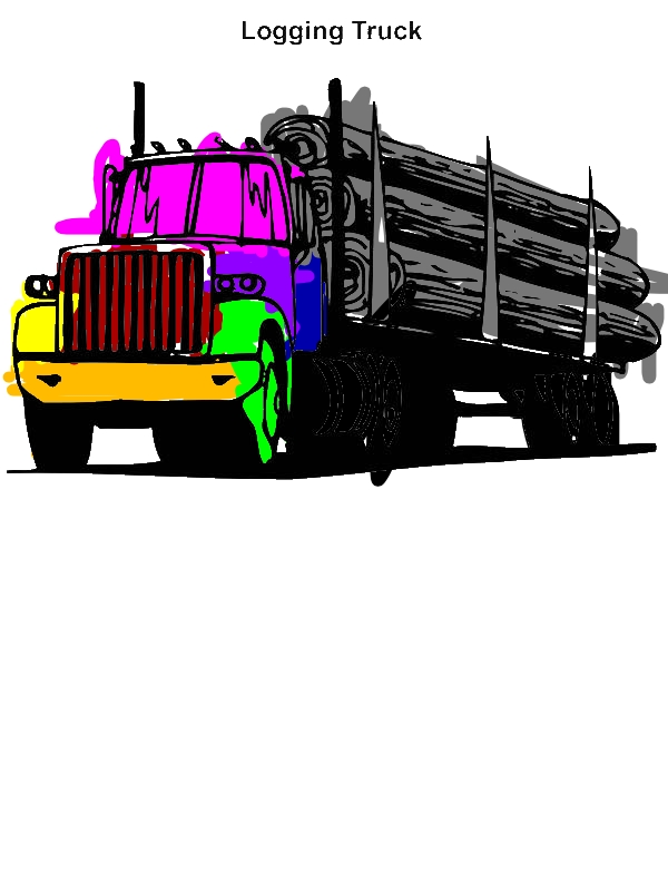 Logging Truck In Semi Truck Coloring Page Download