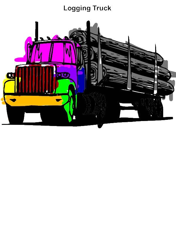 Logging Truck In Semi Truck Coloring