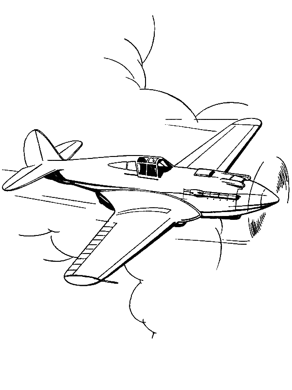 P51 Mustang Us Fighter Airplane Coloring Page By Years Old