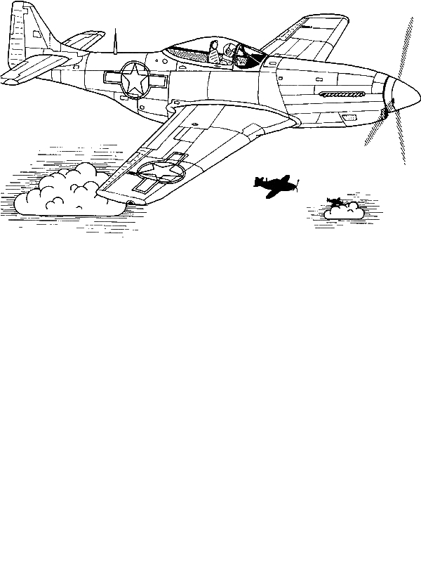 P51 Sky Domination Airplane Coloring Page Download