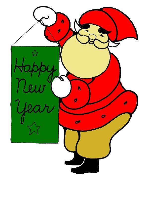 Santa Says Happy New Year Ho Ho Ho Coloring Page ...