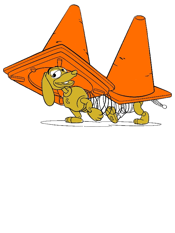 Slinky Dog Playing With Road Cones In Toy Story Coloring ...
