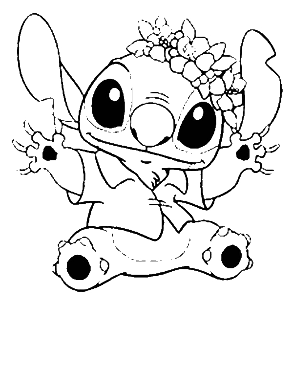 Stitch In Hawaiian Outfit In Lilo & Stitch Coloring Page ...