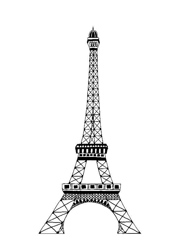 The Famous Of Eiffel Tower Coloring Page Download