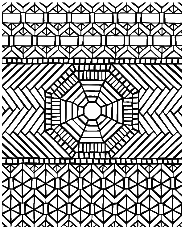 Traditional Pattern Mandala Mosaic Coloring Page