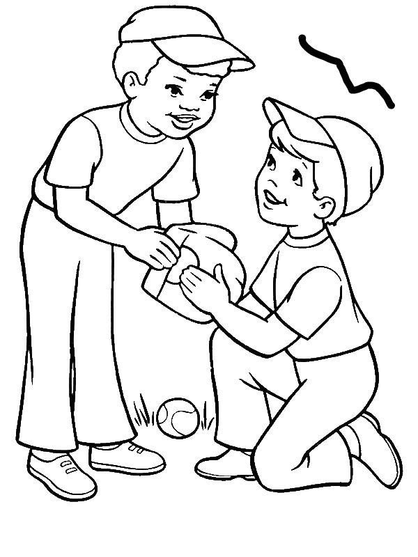 Two Boys Playing Baseball Coloring Page - Download & Print ...