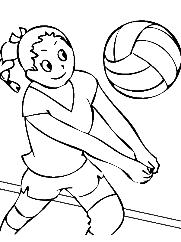 Girls Volleyball Team Coloring Page Download Print